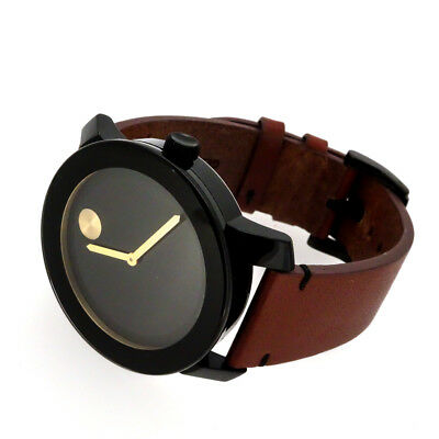 67245f097 MOVADO MENS WATCH Bold Black Dial Brown Leather Band Model 3600305 ...