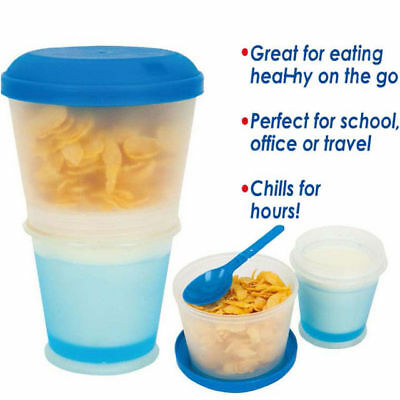 Hot Plastic Breakfast Cup With Spoon Oatmeal Cup Cereal To Go Material Snack Cup