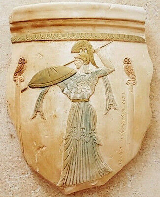 Greek ceramic artifact handmade Athena