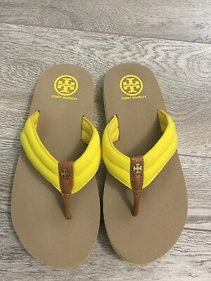 a47858b8293b TORY BURCH ETTA Oil Green Embellished Low-Heel Thong Sandals Size 8 ...