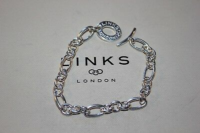 Genuine Links Of London Sterling Silver  Signature Xs Chain Charm 20 Cm Bracelet