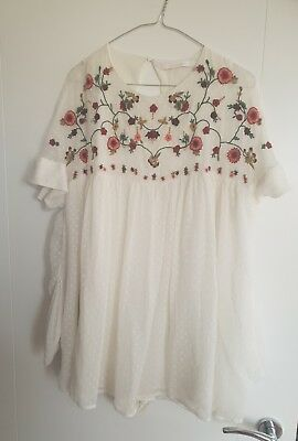 3ea1270d6a ZARA EMBROIDERED DRESS Playsuit Floral Mini Ecru White Vintage Size ...