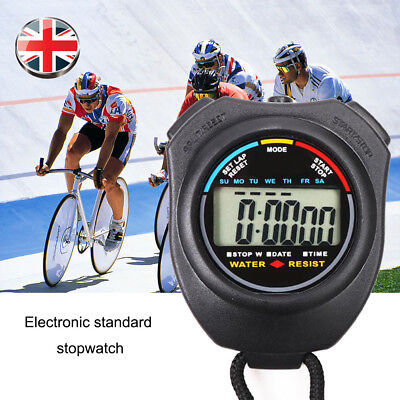 1x Digital Handheld Sports Stopwatch Stop Watch Timer Alarm Counter Chronograph