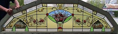 Large Victorian Stained Glass Arch W Painted Scenes, Roses
