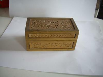 Rare Old Jewelry Wood Carved Trinket Box Hinged Lid