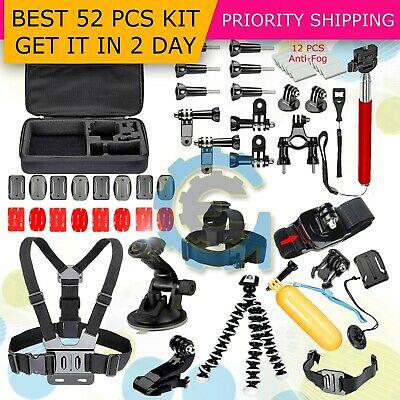 52 PCS Accessories Head Chest Bike Mount Kit for GoPro HERO 5/4/3+ Cameras