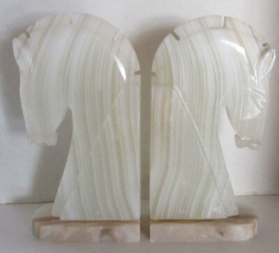Vintage Horse Head Bookends Hand Carved Onyx Marble  8¾ inches Tall