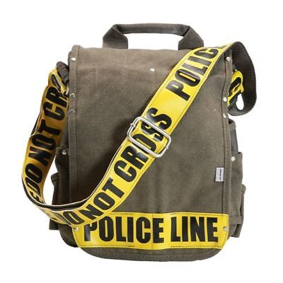 """Ducti Utility """"Police Line"""" Canvas Messenger Bag & Tablet Case - Green & Yellow"""