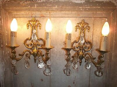 French awesome  vintage a pair of bronze crystals droplets wall light solid