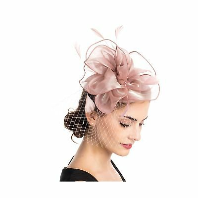 SAFERIN Fascinators Hat Sinamay Flower Mesh Feathers on a Headband and a Clip...