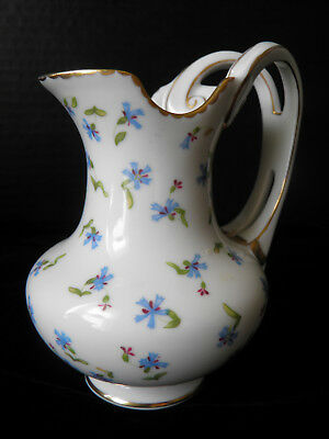 Beautiful Creamer With Gold Trim - Dainty Blue Flowers - By Franklin Mint