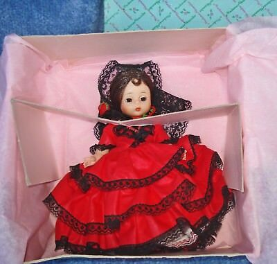 """Vintage 1973 Madame Alexander 8"""" Bent Knee Spanish Doll With Box-Perfect #795"""