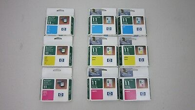 Lot of 9 Genuine HP 11 Ink Cartridge & Printhead C4811A C4812A C4813A NEW Exp05