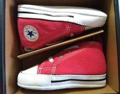 dffcd87781c9 Baby Converse First Star Canvas Crib Shoes Red 88875 Size 4 New! Free S H