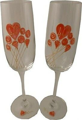 40th Wedding Ruby Anniversary Pair of Champagne Flutes Flower. Dreamair
