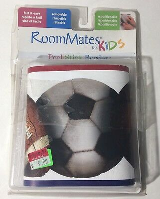 RoomMates For Kids Play Ball  Peel & Stick Border Football Soccer.