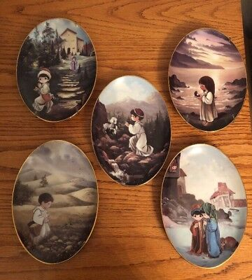 Set Of 5 Precious Moments Plates Murals From The Precious Moments Chapel Retired