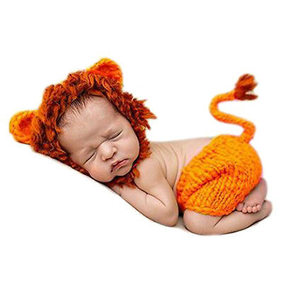 Newborn Baby Crochet Knitted Photo Photography Baby Cute Lion Hat Posting Props