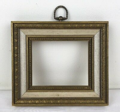 Vtg Mid Century 4x5 Wood PIcture Frame Dk Gold & Ivory w Decorative Brass Hanger