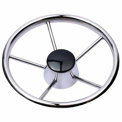 "5 Spokes Marine Boat Stainless Steel 13-1/2""  Steering Wheel 25 Degree Polished"
