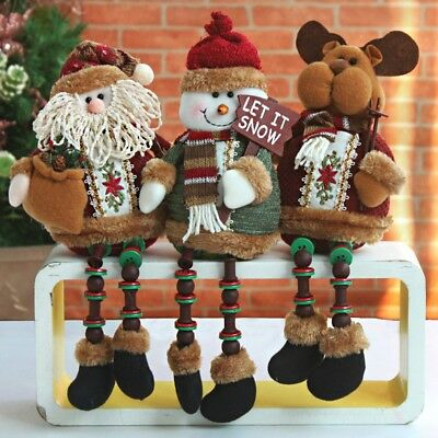 3PCS Set Santa Snowman Reindeer Doll Christmas Decor Xmas Tree Ornament Hanger