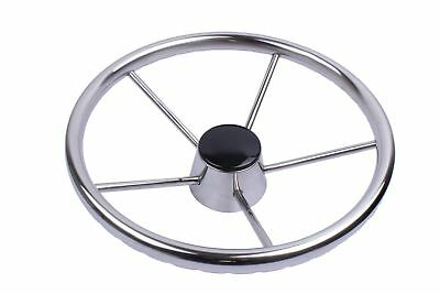 """Stainless Steel 11"""" Steering Wheel  5 Spokes for Marine Boat Yacht Polished"""
