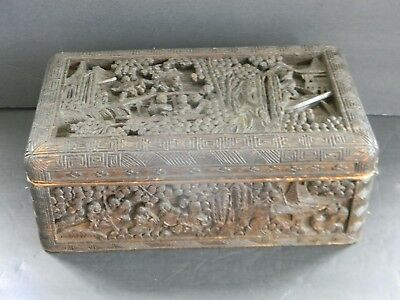 Antique Hand Carved Chinese Mahogany Box
