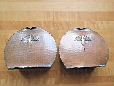 Early Craftsman Studios California Arts & Crafts Hammered Copper Bookends