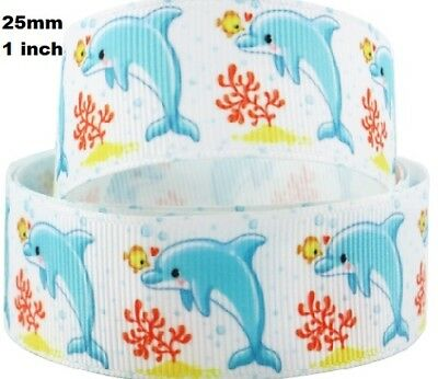1 metre, DOLPHINS RIBBON,  25 mm, Grosgrain, 1 inch, Fish, Hair, Free Aus Post