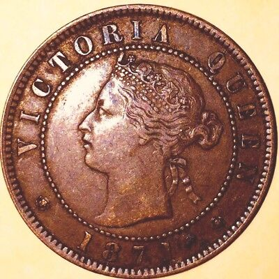 Canadian~1871~Large One Cent~Red~Queen Victoria~Prince Edward Island~Nice!