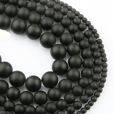 "NEW 6//8//10MM Matte Frosted Black Fire Crackle Agate Gemstones Round Beads 15/""AAA"