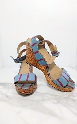 be1e3543a0 Kate Spade wicker wedges stripped blue and red ankle wrap open toe sandal 8