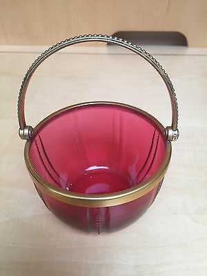 Vintage Ruby Glass Continental Silver Basket