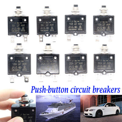 5A-30A Push Button Manual Reset Thermal Circuit Breaker Overload Protect DC 50V