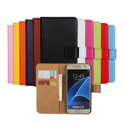 Flip Luxury Genuine Real Leather Stand Wallet Case Cover For Samsung Galaxy S7