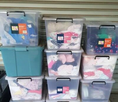 Baby Clothes - Girls size 0000 to 1, Boys size 0000 - 0. $50 each container