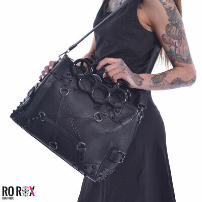 Vixxsin Pentacult Studs Top Handle Punk Bag Gothic Wicca Vegan Leather Handbag