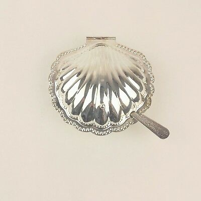 Silver plated EPNS opened scallop oyster shell  bowl butter dish glass lined