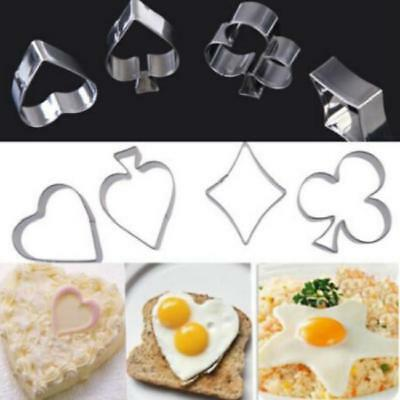 Good Stainless Steel Poker Card Suit 4 pc Metal Cookie Cutter Set