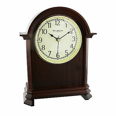 Large Wooden Dark Finish Arched Mantel Clock.new And Boxed. Wood Mantle