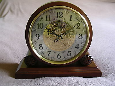 Dark Walnut Finish Wood Westminster Chime Barrel Mantel Clock.new And Boxed.