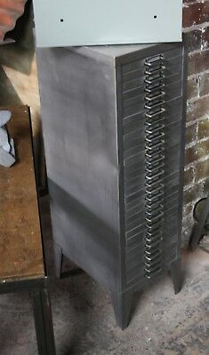 Vintage Industrial Stripped Metal 30 Drawer Filing Cabinet Storage