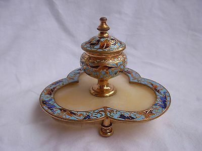 ANTIQUE FRENCH ENAMELED GILT BRONZE ONYX INKWELL,LATE 19th CENTURY.