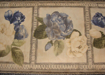 Wallpaper Border Dado Vintage Artistic Sketch Floral Design Deep Blue flower