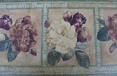 Wallpaper Border Dado Vintage Artistic Tuscan Floral Design Plum Flower