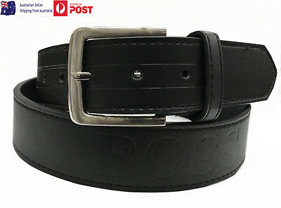 Mens Genuine Full Grain Leather Belt boss Jeans Pin Buckle Premium Quality NEW