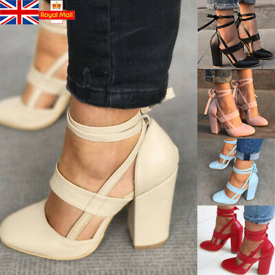 UK Women Patent Leather Block High Heels Ankle Strap Prom Party Shoes Size 3-7.5