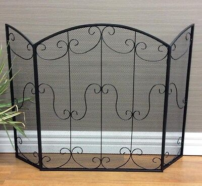 Contemporary Fire Screen Firescreen Guard Shield Protect Safety Fireplace Black