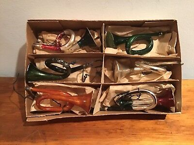 Lot Of Vintage Glass Trumpet Christmas Ornaments (60