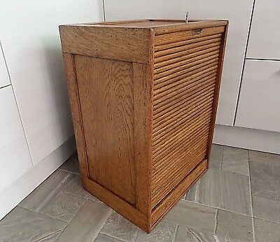 EARLY 20thC SOLID OAK CABINET WITH TAMBOUR ROLL FRONT FITTED SHELVES LOCK & KEY